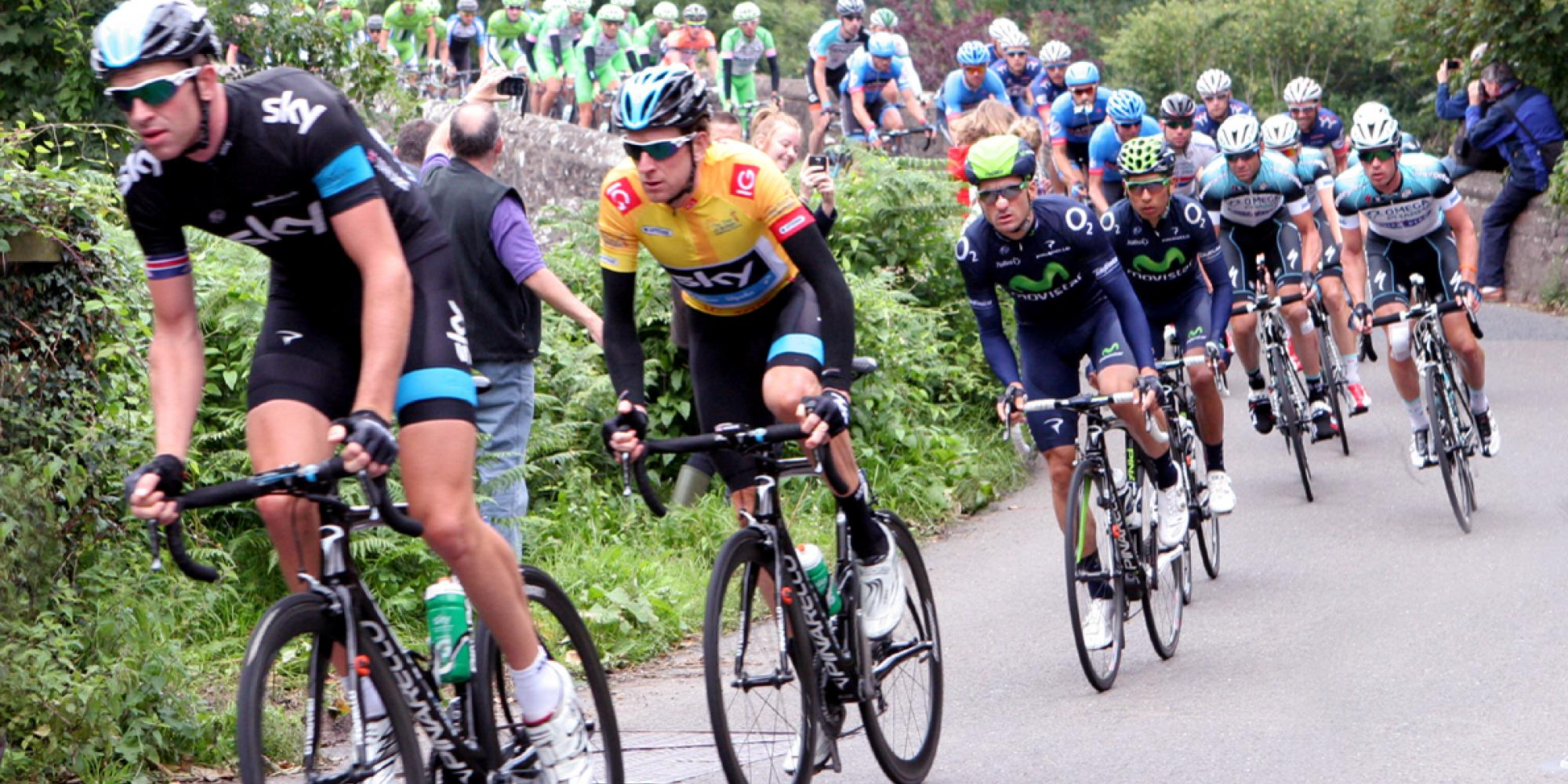 Bradley Wiggins crosses Bickleigh Bridge in the Tour of Britain