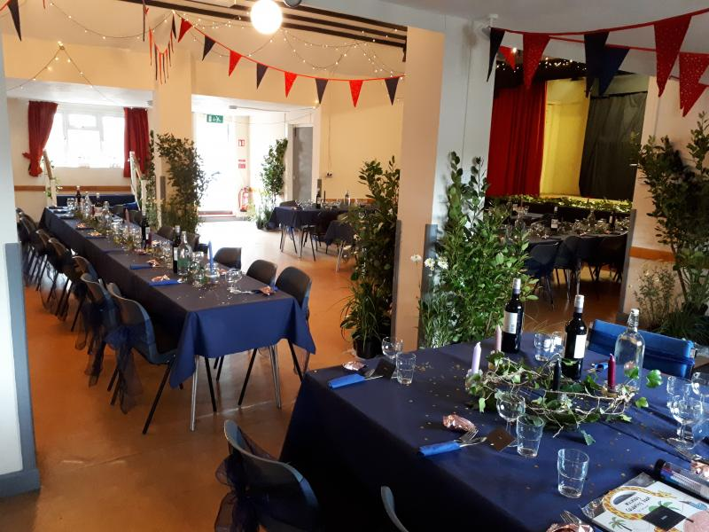 Bickleigh Village Hall set up for a Wedding Celebration