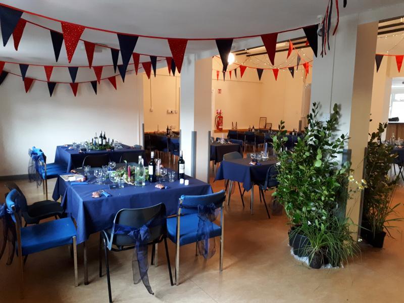 Bickleigh Village Hall set up for a Wedding celebration