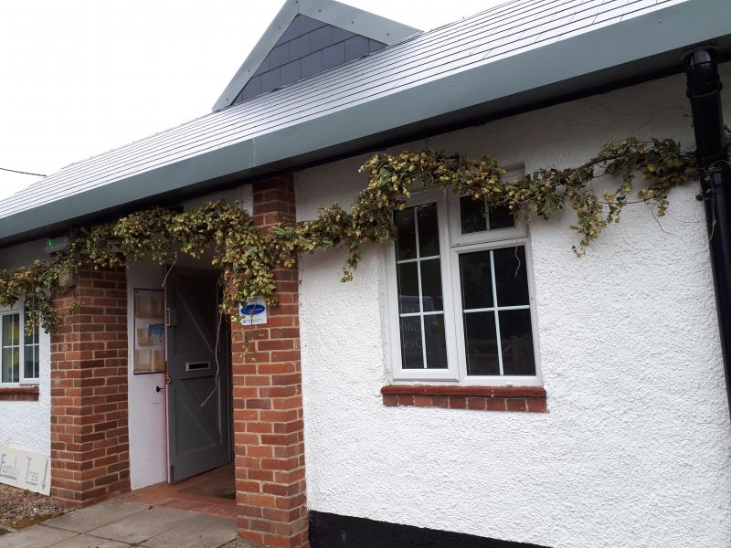 Bickleigh Village Hall Exterior (Hops added for Wedding celebration)