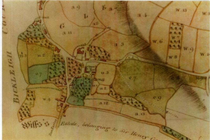 1808 Map of Bickleigh (Source: Carew Map Book)
